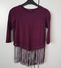 rdeče-vijola bluzica z resicami