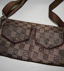 Rjava pisemska torbica z vzorcem