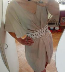 Bež beige nude sand summer dress obleka Zara S