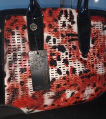 NOVA usnjena leopard , oranžno , črna torba 🧡🖤