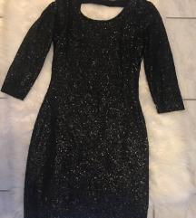 Mini črna elegantna obleka z bleščicami