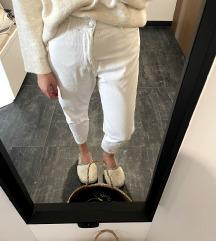 ZARA paperbag bele žametne hlače