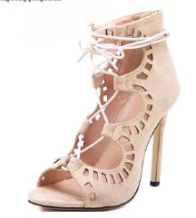 Bež lace up salonarji - sandali