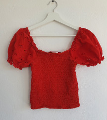 Crop top z broderie anglaise