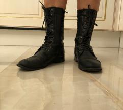 Rebel heart črni srednje visoki škornji