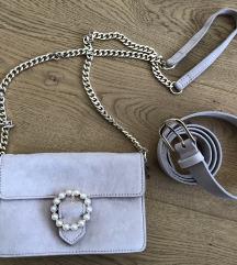 crossbody torbica perle pravo usnje vitage pink