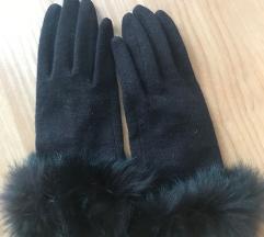 Rjave rokavice s pravim krznom, PPT je v ceni