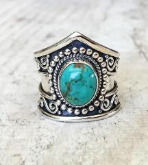 Nov srebrn 925 prstan z turkizem