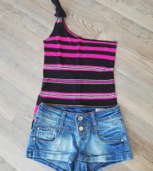 Komplet majcka + kratke jeans hlace