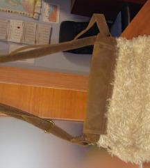 Rjava usnjena -krznena torbica -novo