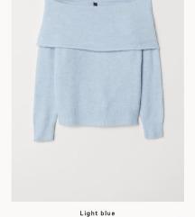 moder off-shoulder puloverček xs (H&M)
