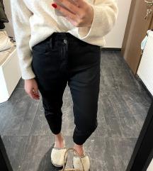 Črne paperbag usnjene hlače ZARA