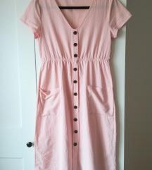 Pastelno roza oblekica z gumbi