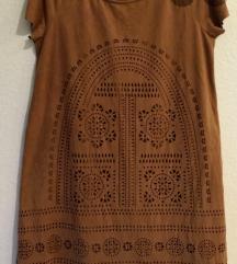 Suede lasercut dress obleka/tunika