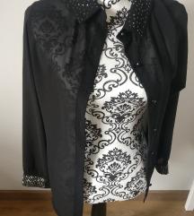 Črna prosojna srajca z biseri