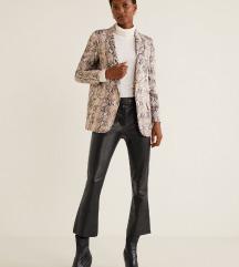 ZNIŽANO Mango črne leather hlače