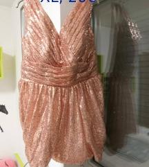rose gold obleka z bleščicami xl
