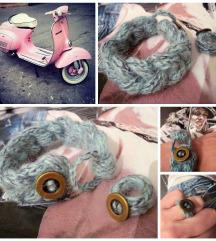 Azurna pletena I-cord zapestnica + prstan, novo