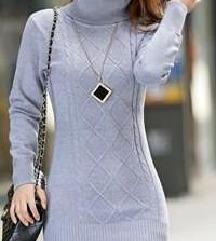 Dolg siv pulover