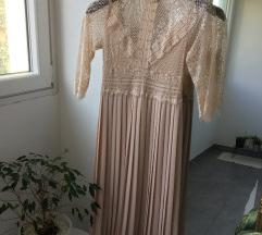 ZARA roza čipkasta obleka