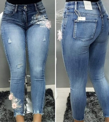 Jeans 3d rože M