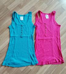 Roza in turkizna majica brez rokavov