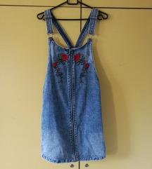 jeans krilo z naramnicami, vezenina