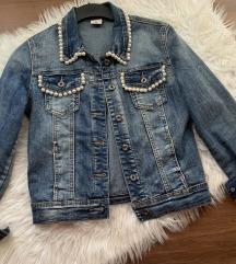 Jeans jaknica s perlami