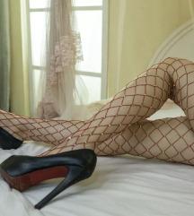 Mrežaste nogavičke z diamantki, rdeče