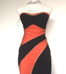 NOVA črno oranžna bandage obleka 👗   XS/S