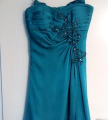 Maturantska svečana modra obleka s kristali