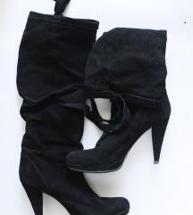NOVI visoki črni usnjeni škornji do kolena