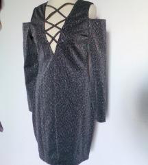 modna srebrna svetlikajoča obleka,M