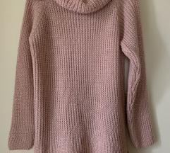 NOV roza pulover s čipko