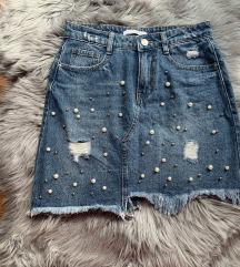 NOVO jeans krilo s perlami